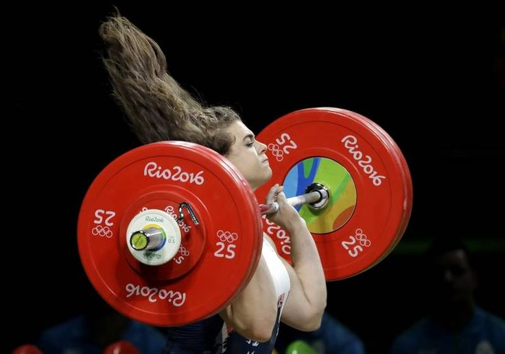 Rebekah Tiler, of Great Britain, competes in the women's 69kg weightlifting competition at the 2016 Summer Olympics in Rio de Janeiro, Brazil, Wednesday, Aug. 10, 2016.