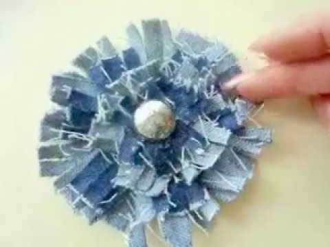 SHABBY CHIC DENIM FLOWERS. http://www.favecrafts.com/Craft-Videos is pleased to bring you this video on how to make easy shabby chic flowers with old denim. Very easy to make, and a wonderful accent to add to bags, headbands, barrettes, etc