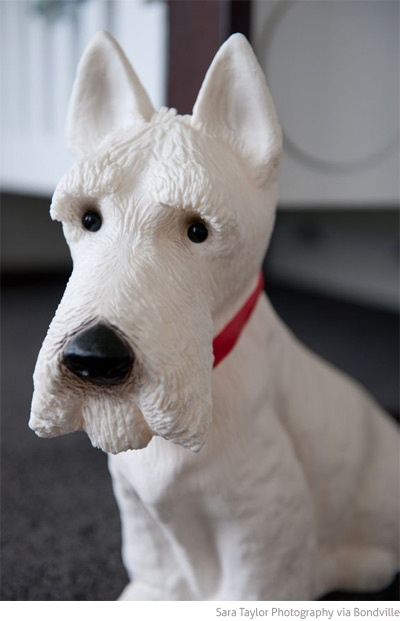 Heico Westie Dog Lamp I Want Grey Chevron Westies
