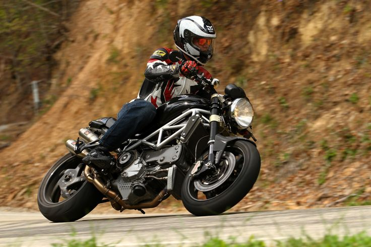 """BellissiMoto's Randy, doing some """"product testing"""" testing at Deals Gap on his custom built Ducati Monster S4RS."""