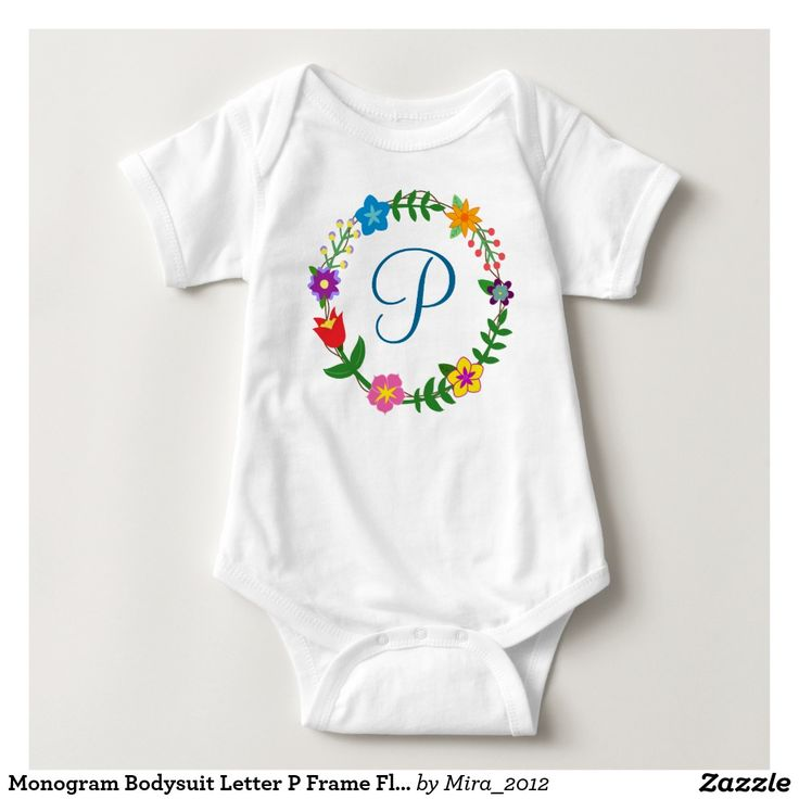 Monogram Bodysuit Letter P Frame Flowers. new baby boy, one-year birthday or Christmas gift for a boy whose name starts with P: Paul, Pablo, Pavel, Patrick, Pat, Philip, Peter, Preston, Paget, Paisley, Paris, Pascale, Parry, Parker, Patrice, Payton, Pax, Paz, Pax, Pedro, Perry, Paxton, Payden, Pete, Pepa, Perrin, Penrose, Pierce, Percy, Palmer, Puck, Petrini, Powell, Phillipe, Philibert, Piano, Piper, Pommeroy, Pompilio, and so on. There are two types of cursive P letters to choose from