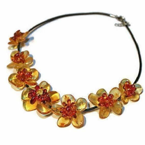 Flowes amber necklace Flower baltic amber necklace adult Amber
