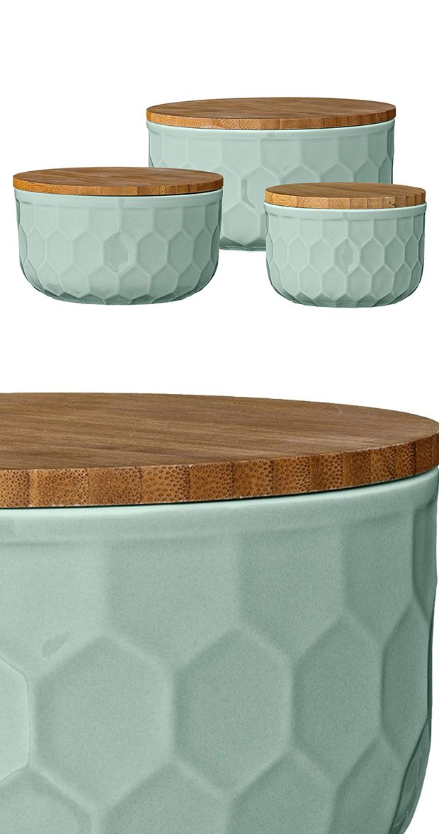 We immediately loved this awesome combination of delicate mint green ceramic and exotic bamboo. Who wouldn't? Offered in a set of three graduated sizes, the Huerta Ceramic Bowl set covers the tasks of ...  Find the 3-Pc. Huerta Ceramic Bowls with Lids, as seen in the Bowls & Cups Collection at http://dotandbo.com/category/kitchen-and-dining/dinnerware/bowls-and-cups?utm_source=pinterest&utm_medium=organic&db_sku=118844