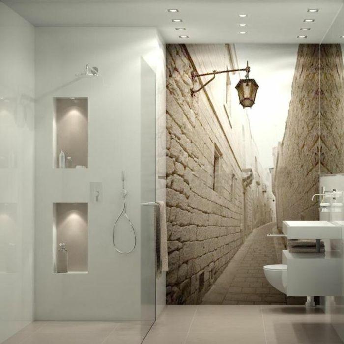 papier peint trompe l'oeil, une jolie salle de bain avec tapisserie trompe l'oeil