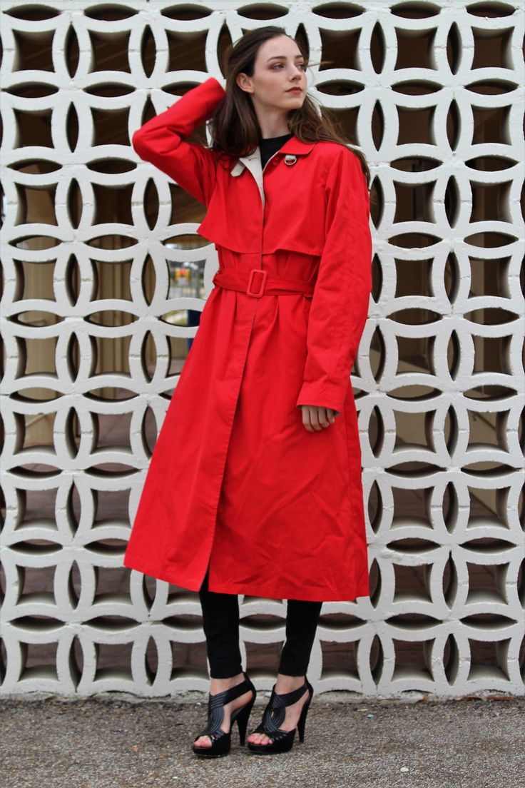 Brighten up the day in this red trench coat from London Fog.: Coat for Rain Women | Vintage 1980s, London Fog, 8 Reg, Rain Coat, Trench Coat, Coat for Rain, Midi Coat Women, Red Coat, Vintage Clothing http://etsy.me #coatforrainwomen #vintage 1980s, #londonfog