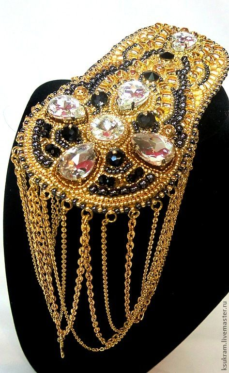 Купить эполет - золотой, кристаллы сваровски, эполеты, погоны, бисер японский, кожа натуральная