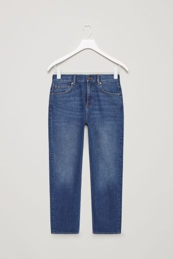 COS image 2 of Straight-fit cropped jeans in Blue