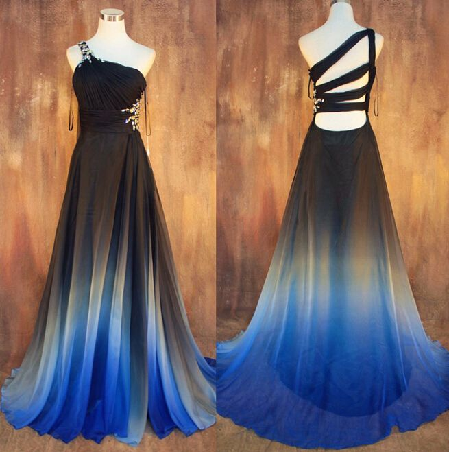 ombre prom dress,one shoulder prom dress,beading chiffon prom dress