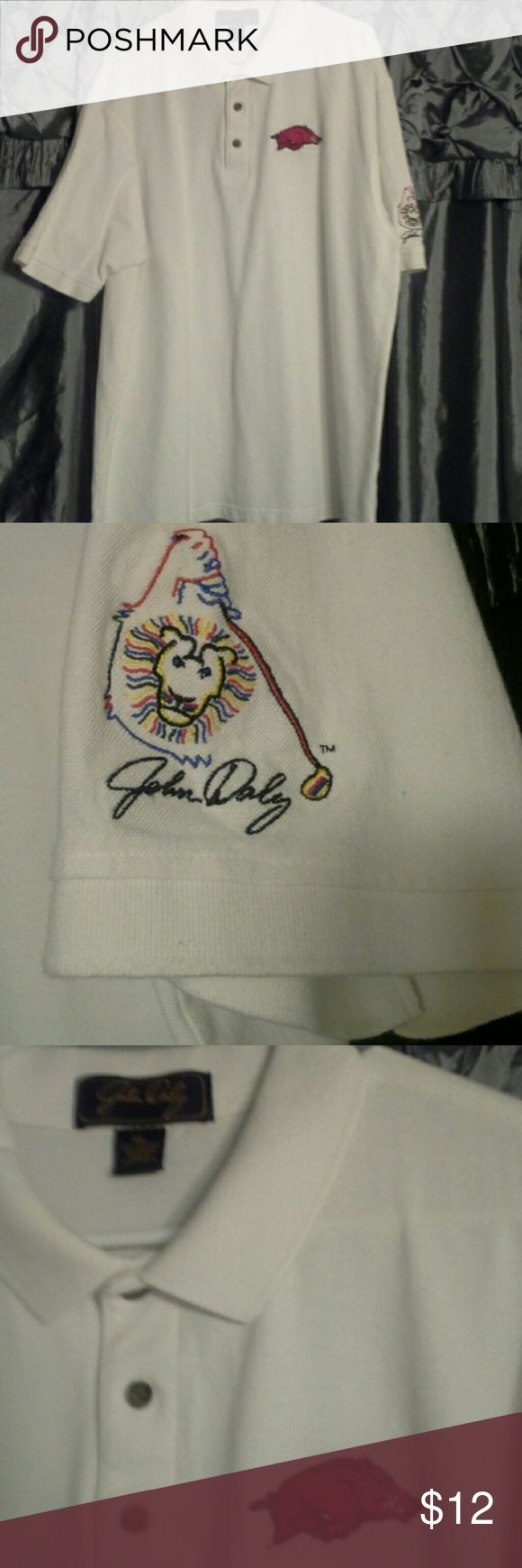 John Daly Golf shirt  x- lg. White John Daly golf shirt in extra large...razorback on front...excellent condition! John Daly Shirts Polos
