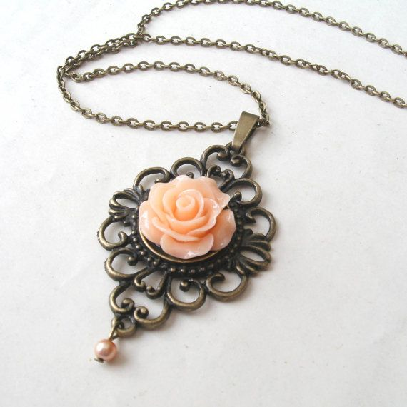 Peach Rose Necklace with Faux Pearl Drop, Flower Necklace, Victorian Necklace, Peach Necklace on Etsy, $16.00