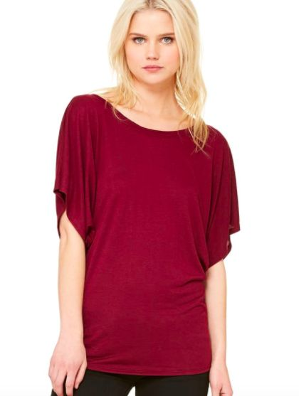 Our new sweatshop free tee is designed to flatter. Made from a beautifully soft poly viscose (65% polyester/35% rayon), ourtee is slightly fitted at the bottom and extra long with an open dolman sleeve and side seam for a perfect drape to compliment any figure.