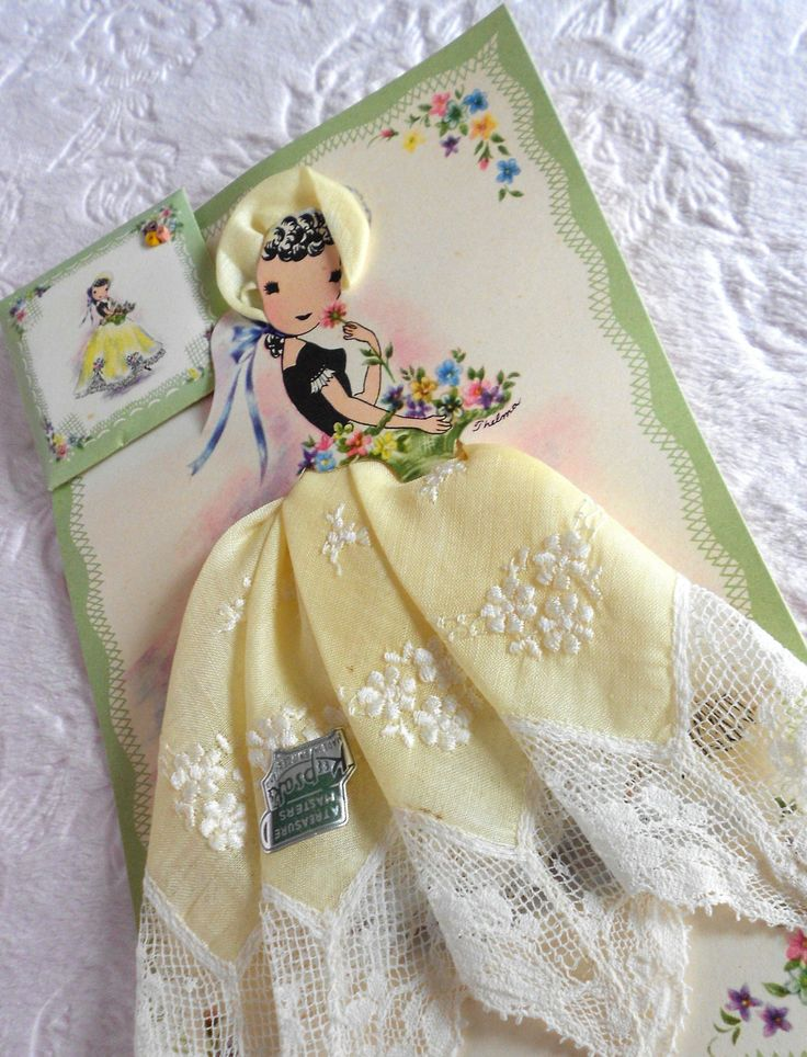 Vintage Yellow Embroidered Lace Lady Paper Doll Boxed Handkerchief Treasure Master Keepsake Hankie Switzerland Hanky Swiss Unused Tag Sachet. $35.00, via Etsy.