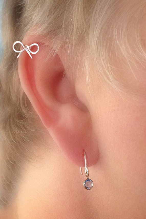 Cartilage Piercing Dainty Bow STERLING by TheLazyLeopard on Etsy