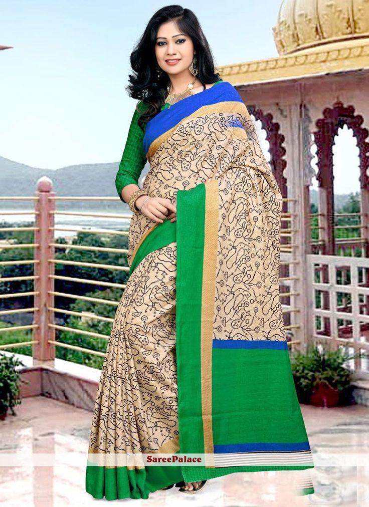 Blissful Art Silk Beige and Green Printed Saree