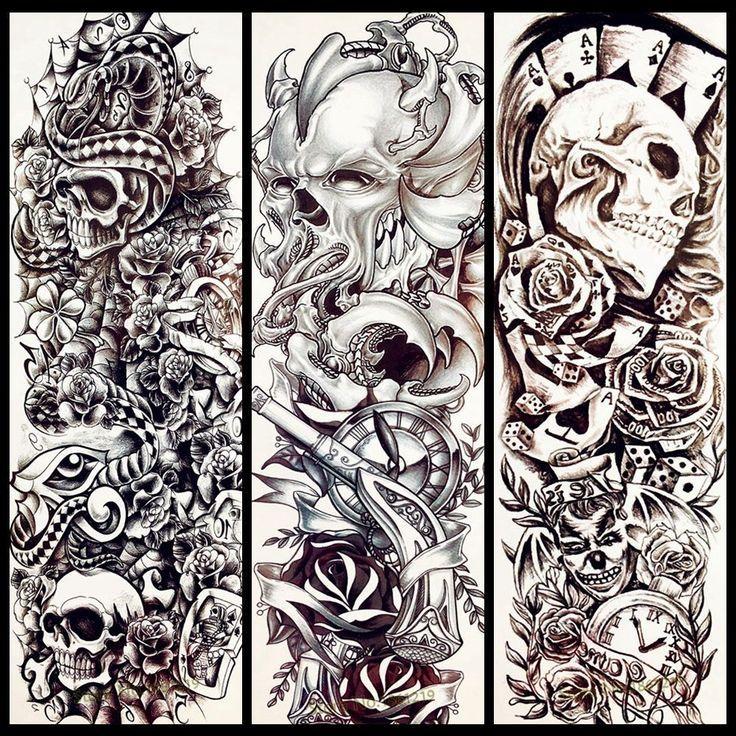 8898ad044 25 Design Poker Skull Temporary Tattoo Men Full Body Arm Sleeve Tattoo  Stickers .