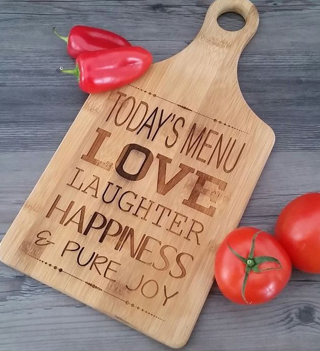 """Engraved cutting board gift. Great for the chef in your life! Quality maple and walnut paddle shaped cutting boards. Size: 13 1/2""""(L) x 7""""(W) Product Number: GFT163 #chefgift #valentinesgift #weddinggift #customgift #engravedchefgift"""