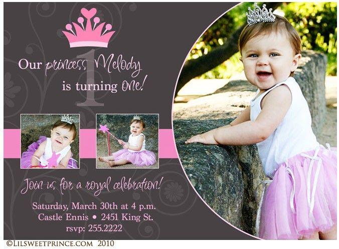 Royal Princess themed birthday invite.