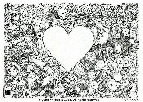 Adult Colouring Book Page One Instant By ClareWillcocksArt