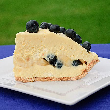 Mile High Blueberry Banana Cream Pie from realmomkitchen.com