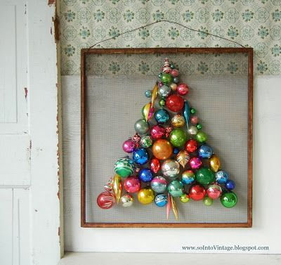Into Vintage: Practice Makes Not-Quite-Perfect and a Giveaway.  I have seen an ornament tree before, yet not framed.  I like the idea of framing it, yet I would adhere the tree to a felt background, perhaps, and frame it.  :)