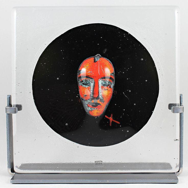 "Bertil Vallien (Black Elements 21st Century) Fascinating Glass Sculpture ""Black Moon"""