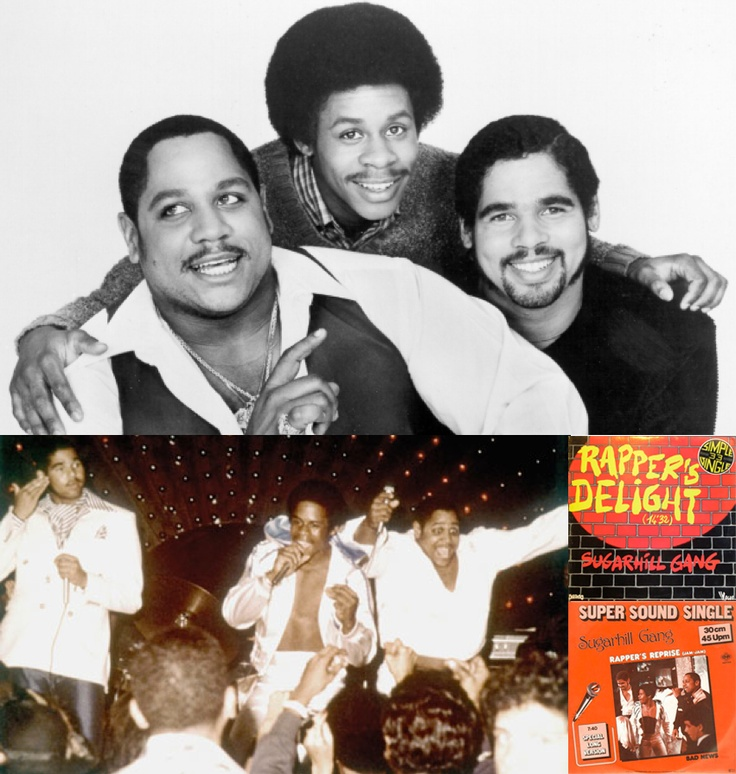 Sugarhill Gang (top, from left): Big Bank Hank, Master Gee & Wonder Mike