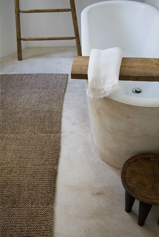 So simple and rustic -- I'd sell most of my earthly effects to have such a tub and such a board and such a towel and such a rug... wait, that wound up not sounding very minimalistic or reasonable once I got started.