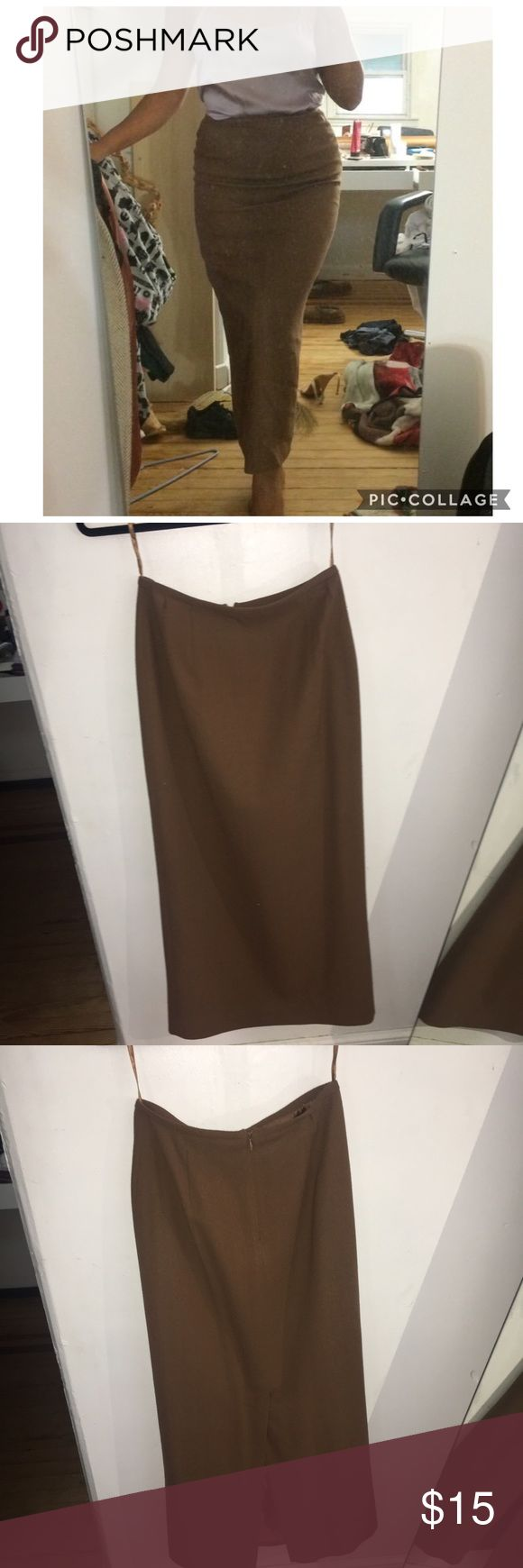 KIM K INSPIRED MAXI PENCIL SKIRT Beautiful dark caramel / camel color  100% wool & lining is 100% polyester  Very structured and shaping skirt  Zipper enclosure on the back w/ a back slit Last image is just an inspiration picture   Some tiny holes on the bottom of the skirt (see 3rd image) & near the top by the waist band  Measurements: waist 26 inches (can fit a 24,25,26) Length: 36 inches long   PRICE IS NEGOTIABLE Yeezy Skirts Maxi