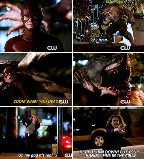 """Oh my God it's real. Put your hands-- fins in the air!"" - Patty, Shark-Man and Barry #TheFlash"