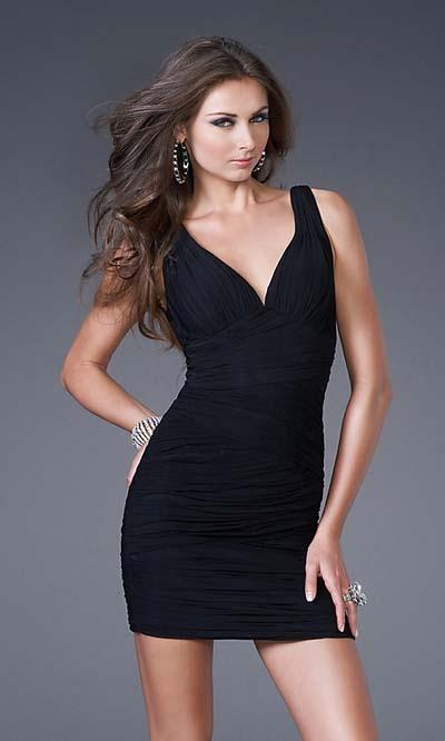 V-neck Short/Mini Chiffon black cocktail dresses
