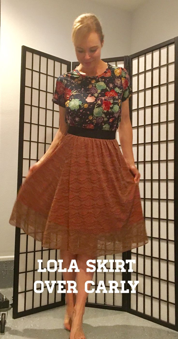 LuLaRoe Lola Skirt over the Carly Dress!