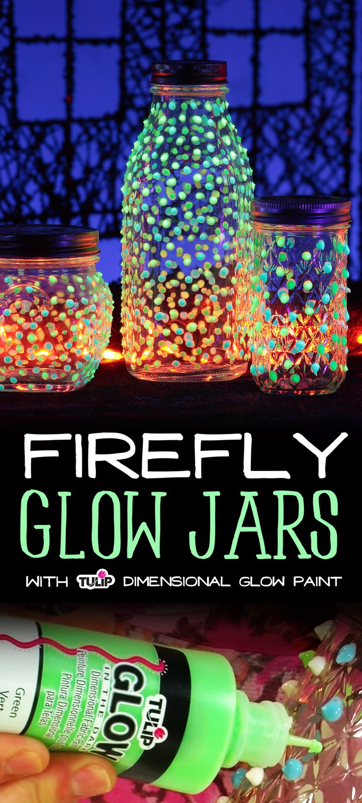 These magical light jars are so easy to make!  You just add little dots of Tulip Glow Dimensional Paint! Make a whole set for your mantle or entryway for an awesome party decoration too!