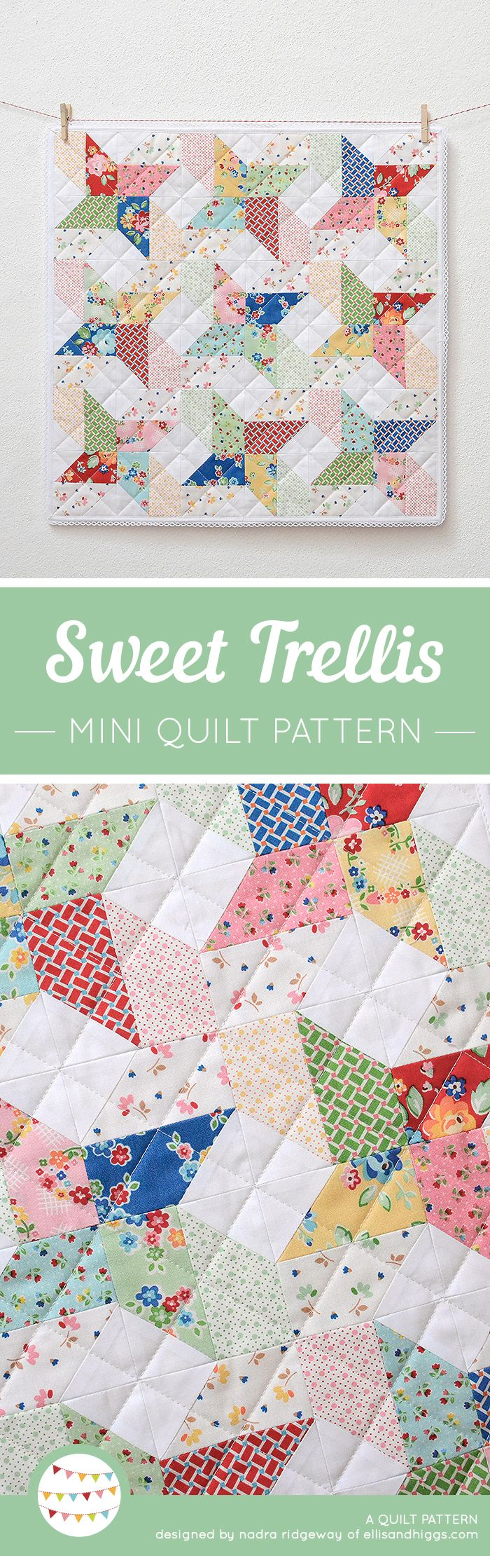Sweet Trellis mini quilt pattern by Nadra Ridgeway of ellis & higgs. Patchwork pattern, beginner quilt pattern, fast and easy quilt pattern, star quilt block, pillow cushion. Patchwork Anleitung, Anfänger, Einsteiger, Nähanleitung, Patchworkdecke, Kissen, Wandbehand, Geschenke, DIY