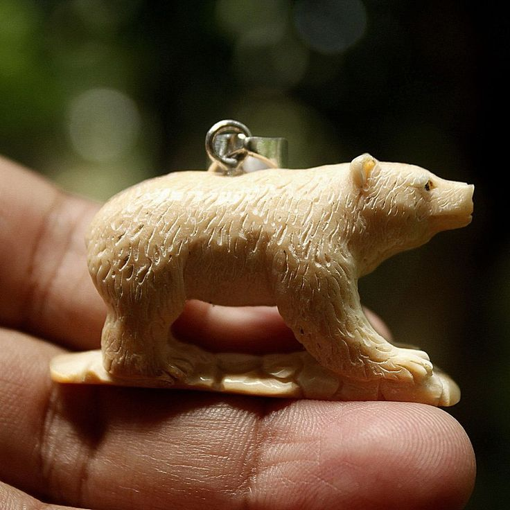 "Hand Carved Bear 1.8"" Natural Fossil Pendant Necklace AP825"