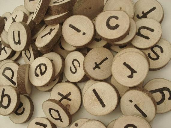 Tree Block Letters Wooden Alphabet Set by LittleWoodlanders.etsy.com