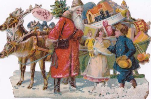 Antique-Victorian-Vintage-Christmas-Die-Cut-Santa-Reindeer-039-s-Sleigh-Children-Toy
