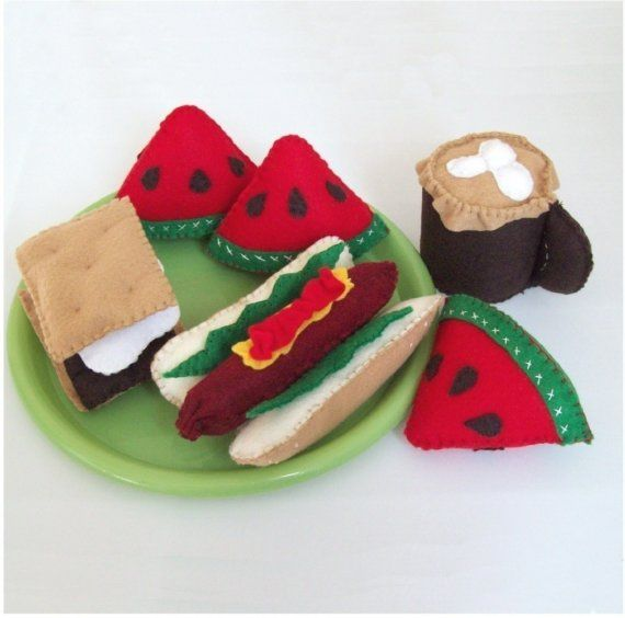 Felt Food Sack Lunch Picnic Pattern LUNCH TIME by LittleCrickets