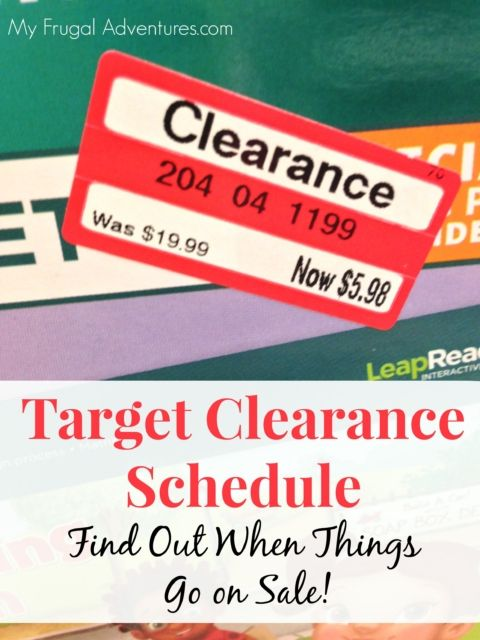 Target Clearance Schedule- a must read for any Target shopper.  When do things go on sale- by department.