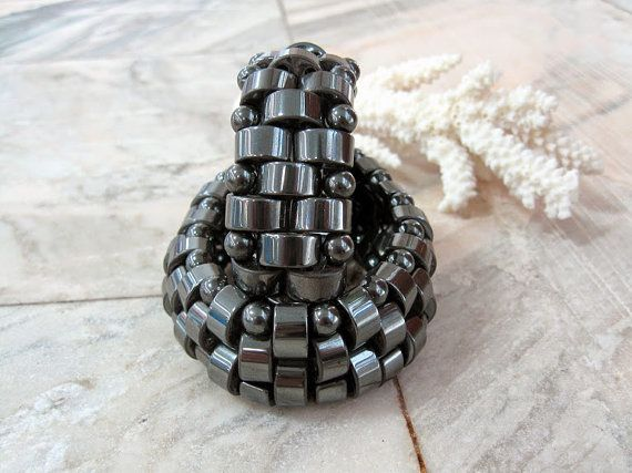 Hematite healing bracelet for woman Wide cuff  by SanaGem on Etsy