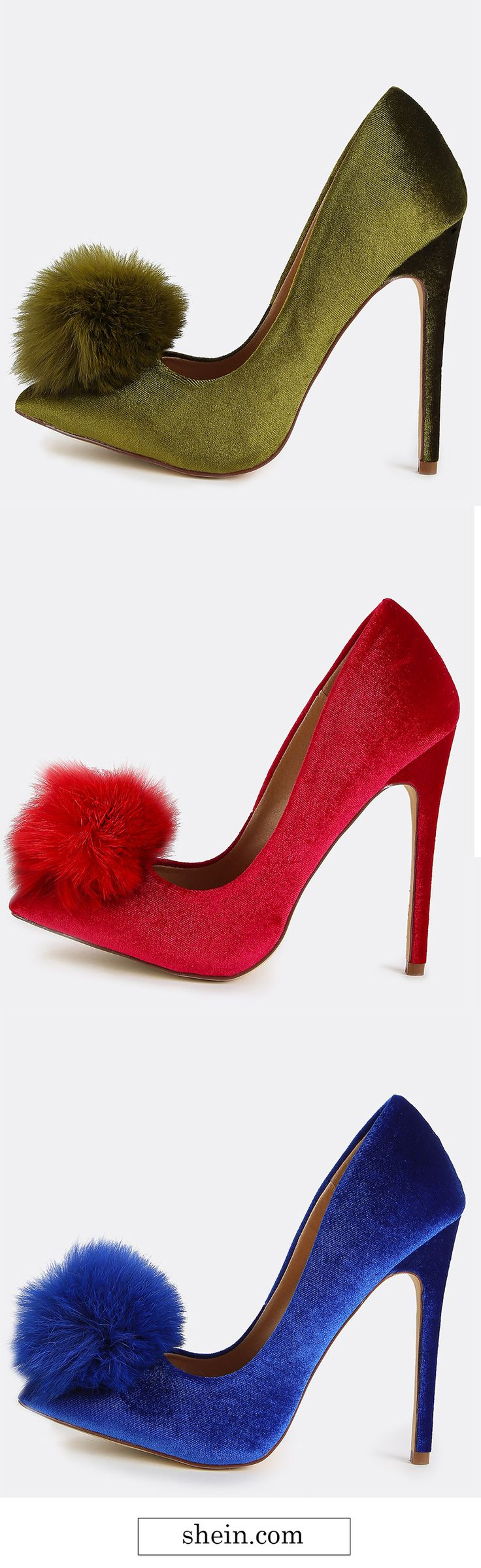 Pointy Toe Stiletto Pom Pom Heels. Three colors for u.