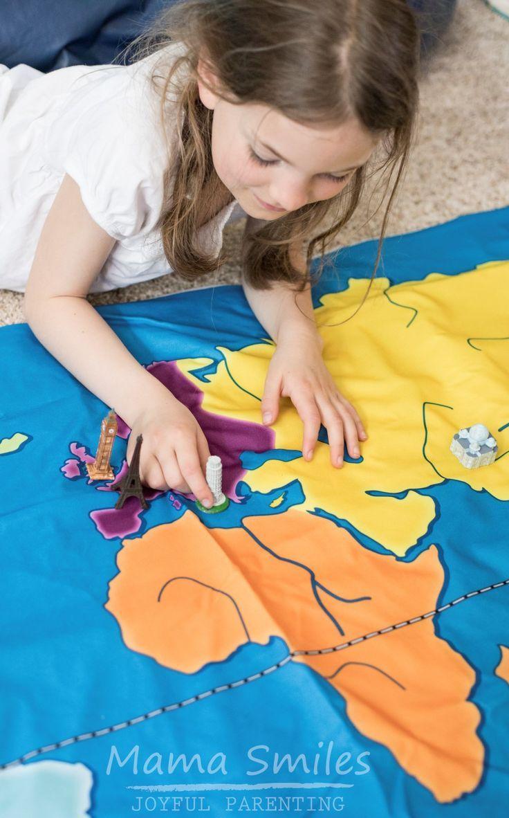 Use world landmarks to create a vibrant