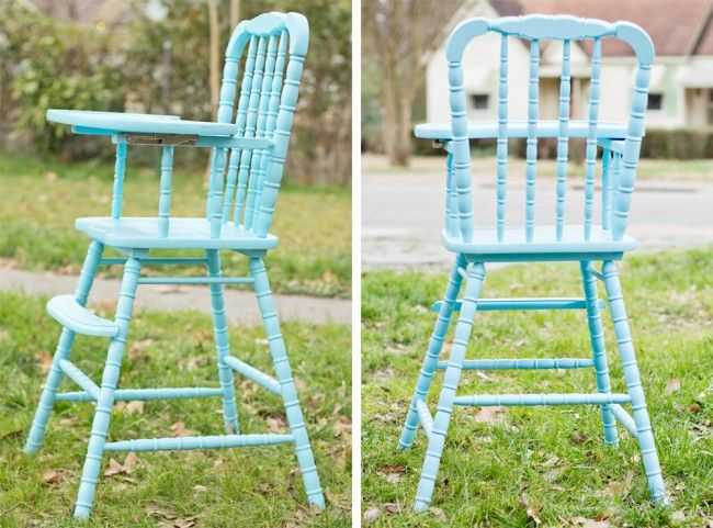 Jenny Lind High Chair Painted Blue... Love It!