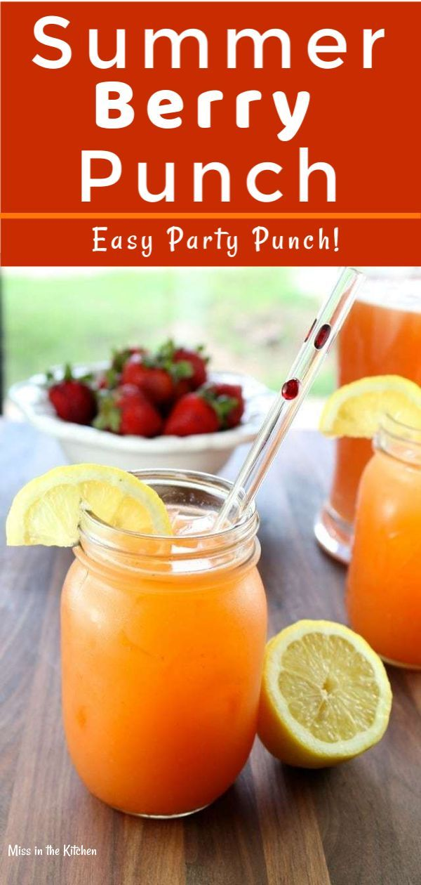 Summer Berry Punch the perfect drink for your summer barbecues, picnics and parties! A delicious ble…