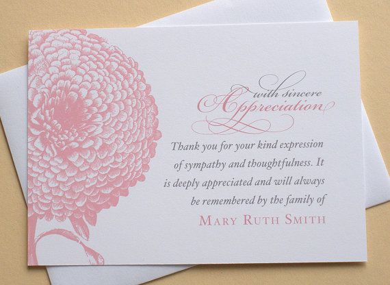 thank you sympathy cards with a big pink flower