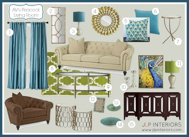 Home With Baxter: E Design: A Peacock   Inspired Living Room