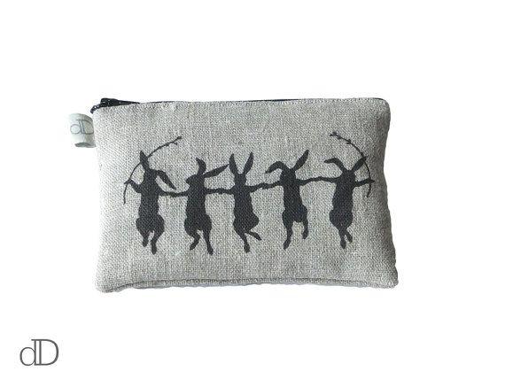 Make Up Bag / Cosmetic Bag /  Purse with Dancing Hares print on linen