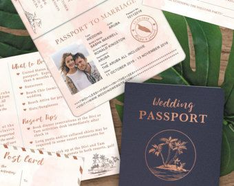 Rose Gold Watercolor Destination Wedding Passport Invitation Set by Luckyladypaper - Do NOT purchase this listing, see details to order