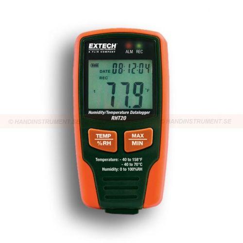 http://handinstrument.se/termometer-r1288/datalogger-for-luftfuktighet-och-temperatur-med-lcd-skarm-53-RHT20-r1538  Datalogger för luftfuktighet och temperatur, med LCD-skärm  USB-gränssnitt för enkel installation och dataöverföring  Valbar dataregistreringsfrekvens: 1 sekund till 24 timmar  Programmerbara larm-tröskelvärden för RH och temperatur  LCD visar aktuella värden, min / max och alarm status  Komplett med 3.6V Litium batteri, fäste med kombinationslås  Innehåller...