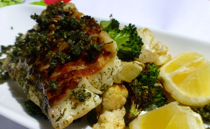 ... Fillets with Dill Pesto Sauce & Spicy Roasted Cauliflower with Lime