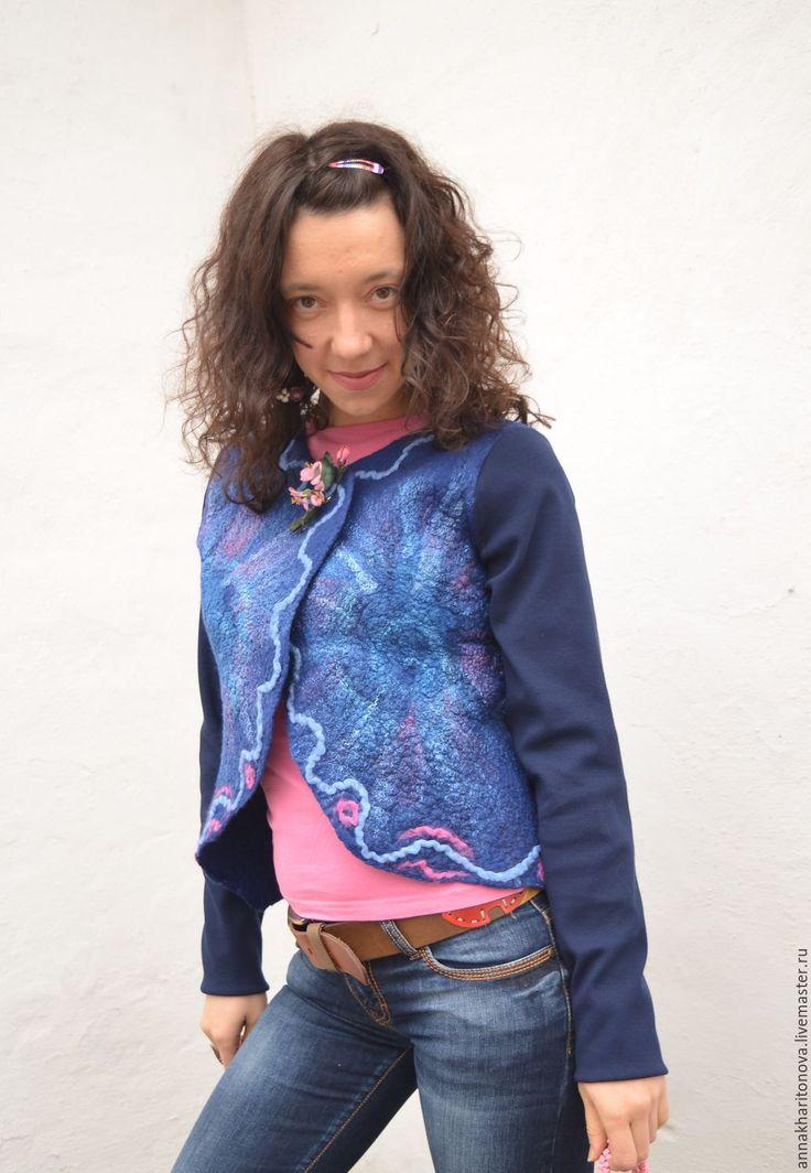 """Купить РЕЗЕРВ Жакет """"Чудесный"""" - тёмно-синий, абстрактный, синий с розовым, сине-розовый"""